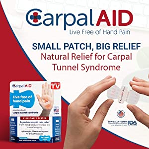 CarpalAID Carpal Tunnel Syndrome Relief Support- Self Adhesive Patch Helps to Support Pain Relief and Swelling - Overnight Swelling Relief Support - No Brace Required - Small - 6 Pack