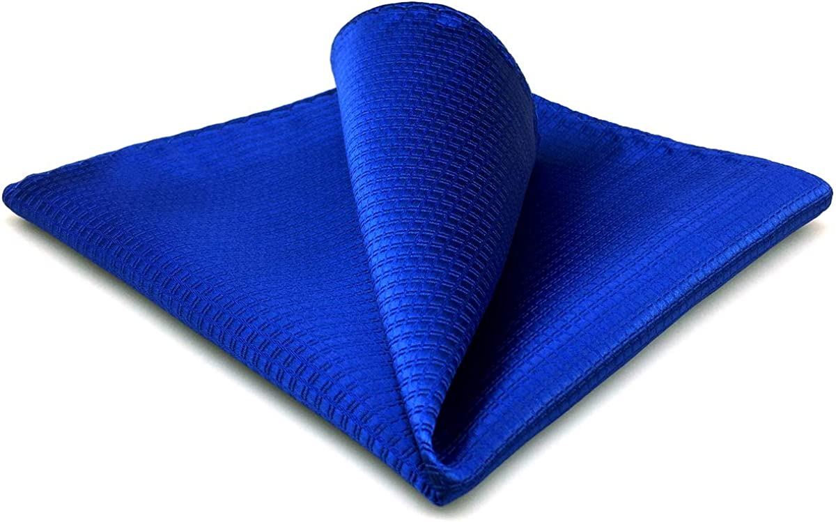 SHLAX&WING Solid Blue Silk Pocket Square for Men Hanky Jacquard Woven Business