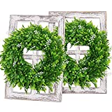 VIEIFN Farmhouse Window Frame with Wreath,2 Pack Rustic Wooden Window Pane Frames with Boxwood Wreath,Farmhouse Wall Decor for Living Room,Kitchen,Entryway,Bedroom,11X15.8 Inches,White
