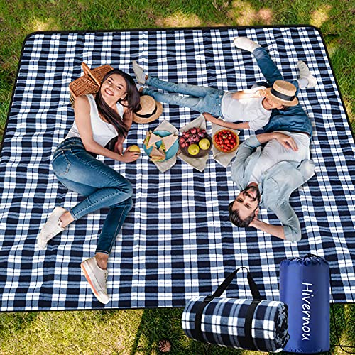 """Hivernou Picnic Blanket,Picnic Blanket Waterproof Foldable with 3 Layers Material,Extra Large Picnic Blanket Picnic Mat Beach Blanket 80""""x80"""" for Camping Beach Park Hiking Fireworks,Larger & Thicker"""