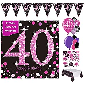 Decoración de cumpleaños Fiesta para 40 cumpleaños 13 Piezas ...