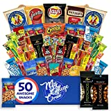 My ​College​ Crate - 50 Piece ​Care Package for Men - Snack Box Variety Pack for Adults - Bulk Food Box ​with​ Chips, Jerky, Snack Bars, Nuts ​and​ Pretzels