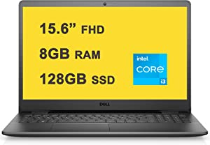 "Dell Flagship Inspiron 15 3000 3501 Business Laptop 15.6"" FHD Anti-Glare Narrow Border Display 11th Gen Intel i3-1115G4 Processor 8GB RAM 128GB SSD Intel UHD Graphics Win10 Black"