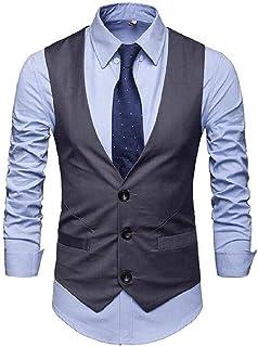 MU2M Men Hipster Slim Pure Color Vests Jacket Classic Style Waistcoat