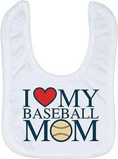 Baseball Baby & Infant Bib | I Love My Baseball Mom | Soft Microfiber Bib | Navy