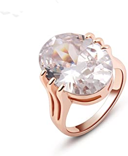 Ajojewel Women's Ring 18K Gold Plated Egg Shaped Cubic Zircon Engagement Ring