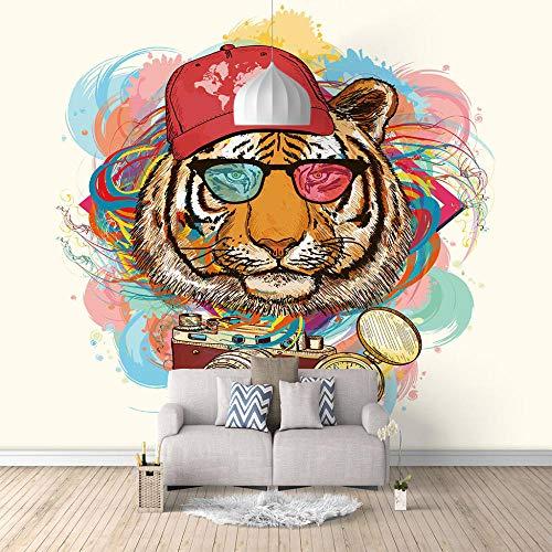 Papel Pintado Mural Imagen Tigre De Hip Hop 3D No-Trenzado Salón Dormitorio Despacho Pasillo Decoración Murales Decoración De Paredes Moderna - 400 X 280 Cm