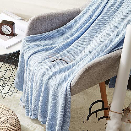 NA MYBH casa Manta algodón Tejido Oficina Siesta Aire Acondicionado Mantasofá Manta Azul Claro 130 * 150 cm