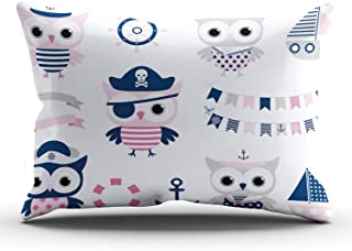 THUONY Bedroom Home Decoration Cute Pirate Sailor Owl Bird and Sailboat Summer Ocean Throw Pillow Cover Cushion Case Fashion One Side Printed King 20x36 Inches (Set of 1)