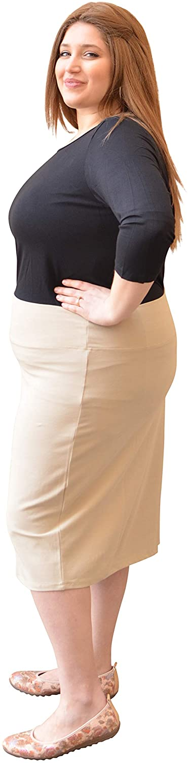 Kosher Casual Women's Modest Knee Length Stretch Pencil Skirt in Lightweight Cotton Spandex