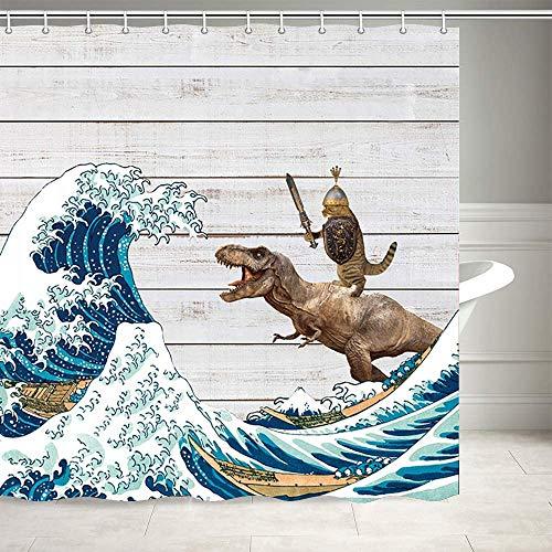 Duschvorhang mit lustigen Tieren, Dinosaurier & Katze in japanischen Kanagawa-Wellen auf Bauernhaus, rustikaler Holzbrett, Duschvorhang für Badezimmer, Stoff-Duschvorhang, 12 Haken, 175 x 178 cm