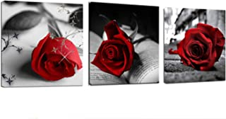 """Canvas Wall Art Red Rose Flowers on Gray Books Pictures Painting -12"""" x 12"""" x 3 Panels Canvas Prints Framed for Home Bathroom Bedroom Wall Decor"""