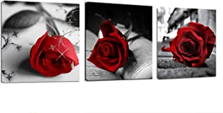 Canvas Wall Art- Red Rose Flowers Art Gray Book Painting Pictures - 48