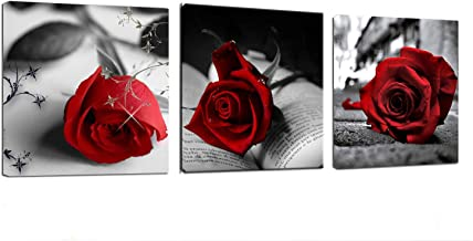 Canvas Wall Art Red Rose Flowers on Gray Books Pictures Painting -12
