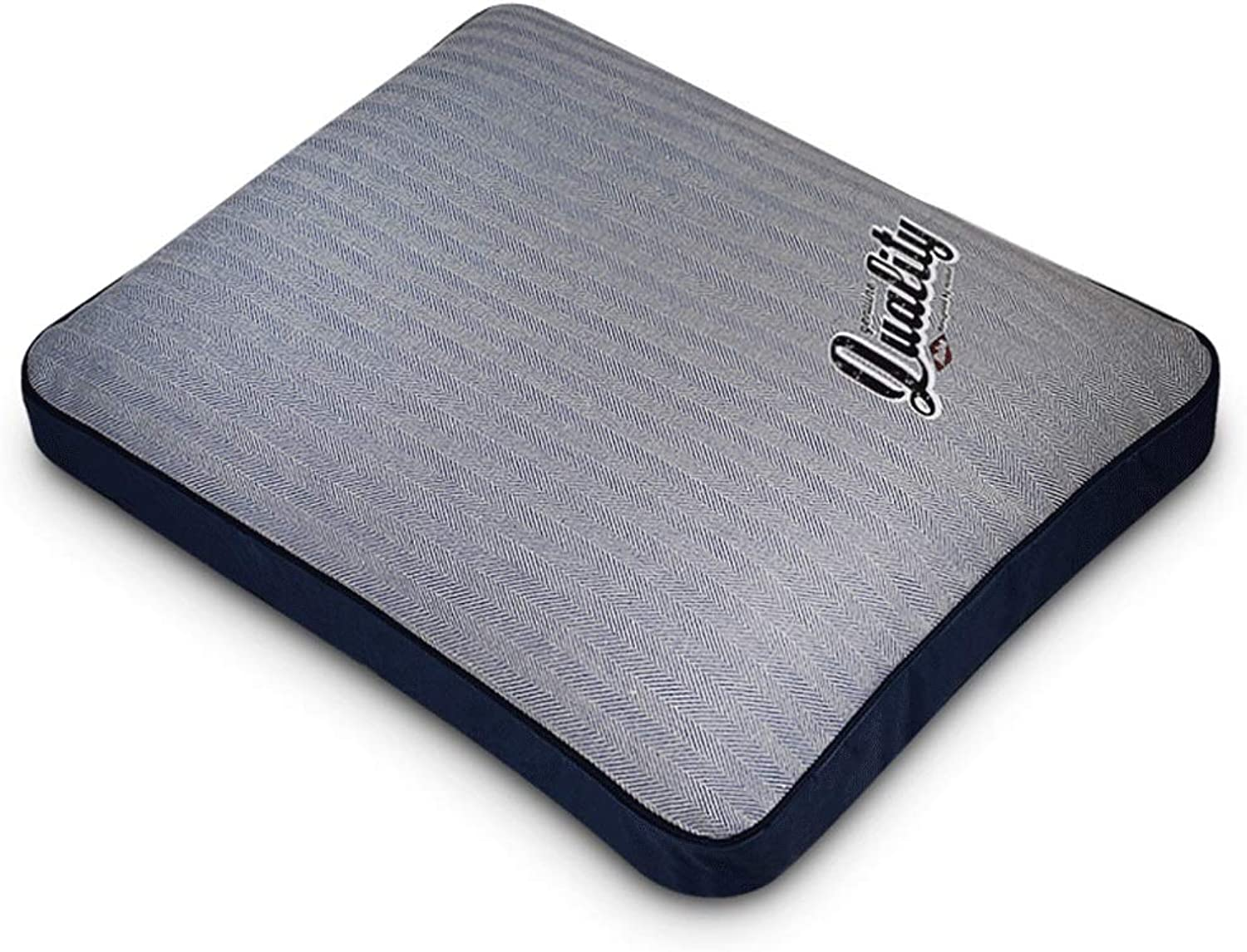 Herringbone Pattern Dyed Canvas Cotton Removable and Washable Non-Glazed Large and Medium-Sized Sleeping Mat (color   bluee, Size   XL (75X90CM))