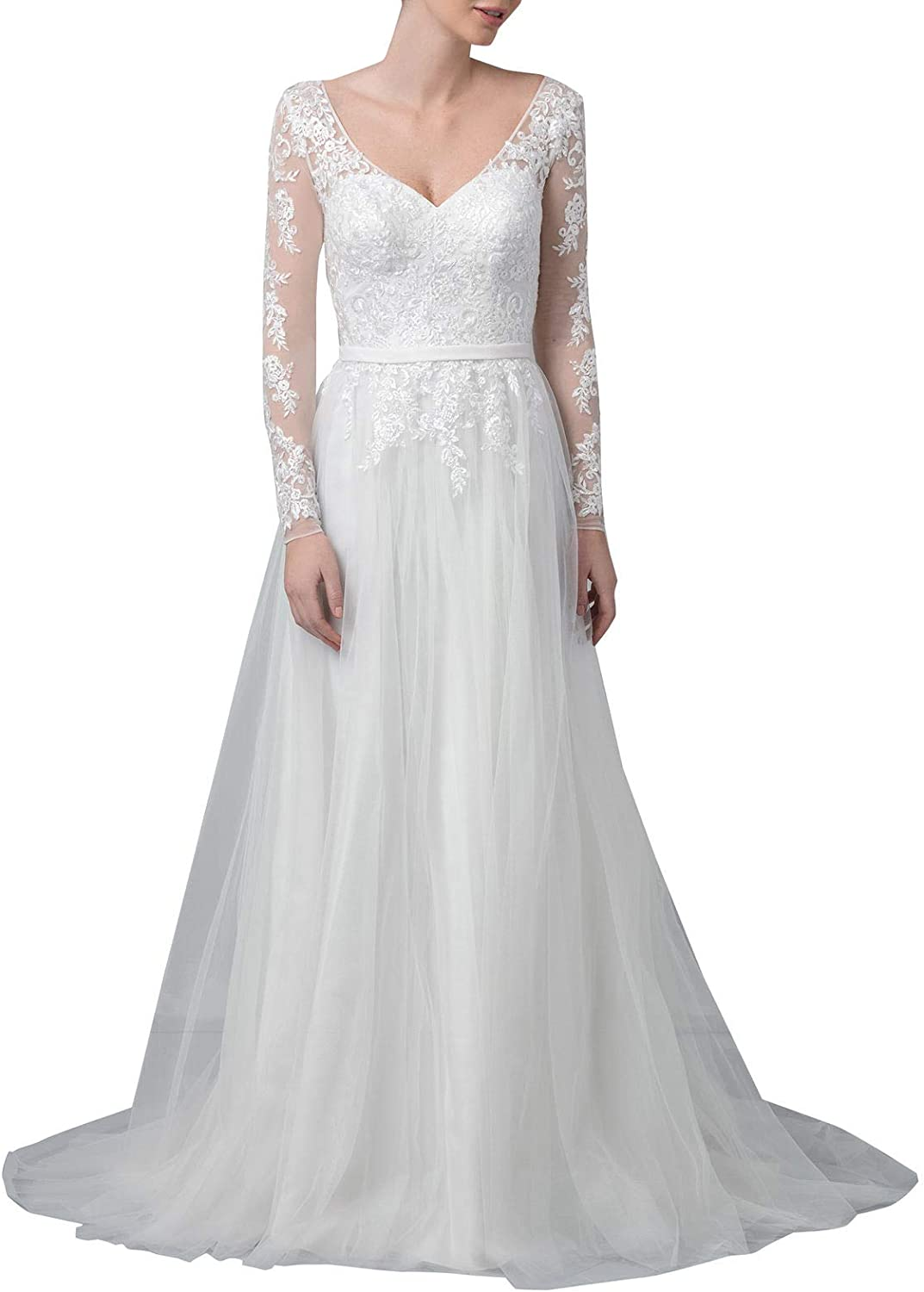 Aishanglina Women's Long Sleeves Lace Appliques Wedding Dresses Bridal Gowns with Low Back