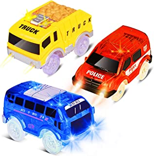 Track Cars Compatible with Magic Tracks and Neo Tracks Replacement Light Up Racing Track Accessories with 5 Flashing LED Lights Toys Racing Car with Most Tracks for Boys and Girls ( 3 Pack )