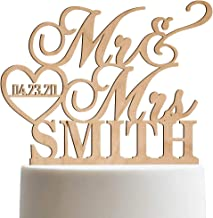 Personalized Wedding Cake Topper Mr Mrs Heart Customized Wedding Date And Last Name To Be Bride & Groom   Wooden Cake Toppers
