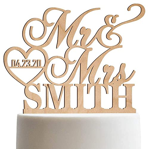 Personalized Wedding Cake Topper Mr Mrs Heart Customized Wedding Date And Last Name To Be Bride