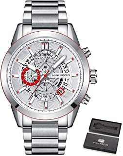 MINI FOCUS Men Watch Quartz Movement Steel Strap Time & Calendar Display Stopwatch Function 3ATM Waterproof Male Fashion W...