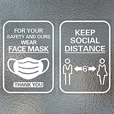 WaaHome Wear Face Mask Window Sticker Keep 6 Feet Social Distancing Sticker Decal 7''X10'' Face Mask Required Safety Sign for Window Door Wall