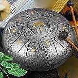 Steel Tongue Drum, AKLOT 10 inch 11 Notes Tank Drum C Key Percussion Steel Drum Kit w/Drum Mallets...