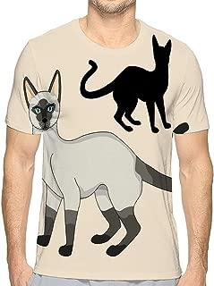 Mens Cotton T-Shirt Quality Tshirts Siamese cat Realistic Black Silhouette Set Adult