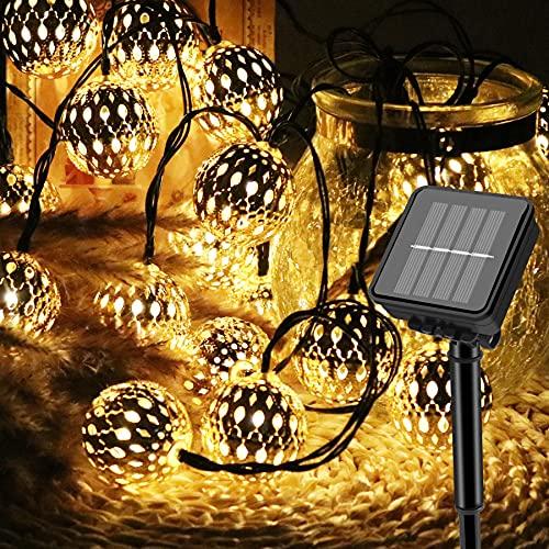 Cadena de luces LED solar Vegena de 5 m, 20 luces LED marroquíes para exteriores, 8 modos, bolas orientales, cadena de luces solares resistentes al agua, para jardín, árboles, terrazas, bodas, fiestas