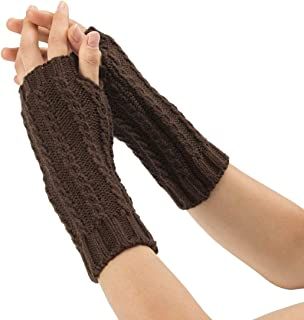 LIUFULING Women's New Winter Cozy Wool Gloves Knit Arm Warmer Cable Knit Fingerless Gloves Mittens (Color : Brown)
