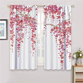 GUUVOR House Decor Collection Room Darkened Heat Insulation Curtain Cherry Blossom Trees Branch Springtime Happy Vacation Traveling Destinations Image Living Room W42 x L84 Inch Lilac Salmon Coral