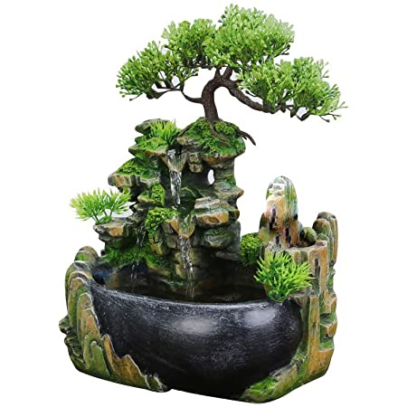A-Generic Indoor Fountain Indoor 8.3-Inch Table Fountain with LED Light for Office Desktop Fountain Home Decoration Desktop Waterfall