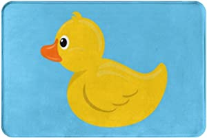 Cartoon Yellow Duck Blue Water Bath Mat Non Slip Absorbent Super Cozy Velvet Bathroom Rug Carpet Bath Rugs 24x16 Inch