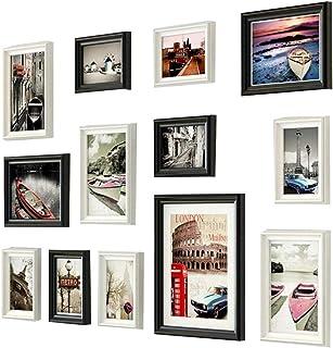 LONGWDS Marco de Fotos Pared Marco de Imagen de uñas 9 Rejilla de la decoración Mural de Fotos de Madera Maciza de Estilo ...