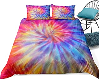 Tie Dye Duvet Cover Set Rainbow Bedding Pink Blue Psychedelic Design Kids Teens Tie Dyed Bedding Sets Queen 1 Duvet Cover 2 Pillowcase (Watercolor 6, Queen)