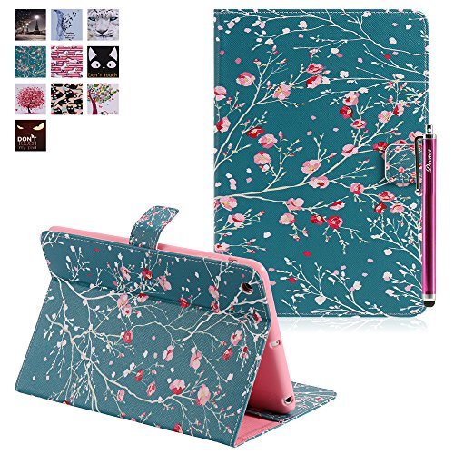 iPad Mini Case, Deenor Colorful Painting and Stylish PU Leather Folio Case Protective Stand Smart Case Cover For Apple iPad Mini 1 /iPad Mini 2 / iPad Mini 3. [Branches Safflower]