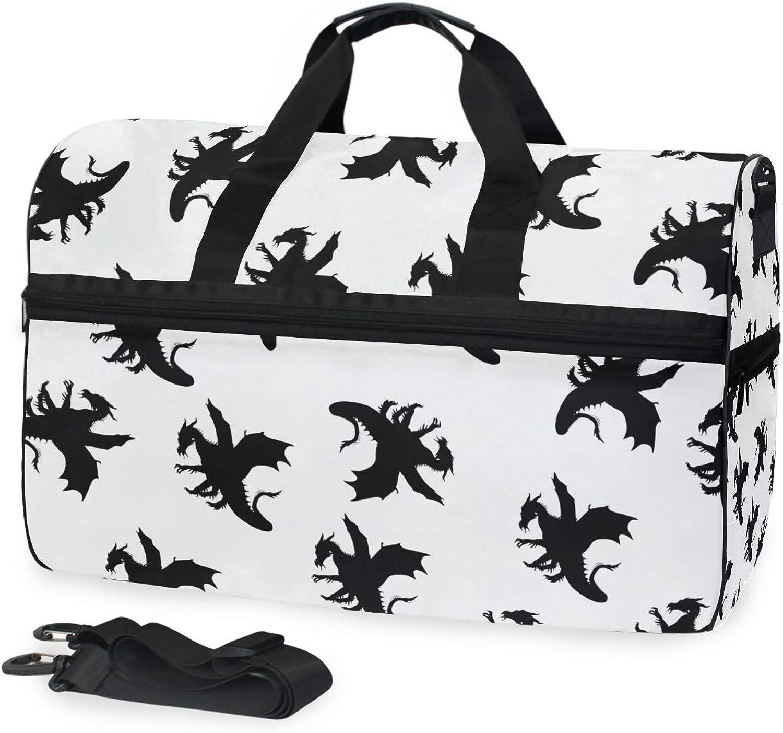 FANTAZIO Animal Dragon Patterns Sports Duffle Bag Gym Bag Travel Duffel with Adjustable Strap