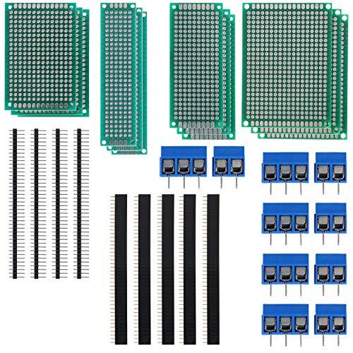 WiMas 60 kits de placa de PCB, placa de circuito de doble cara, placa de circuito de prototipo, 20 placas PCB, 20 conectores macho y hembra, 20 bloques de terminales de tornillo para soldadura DIY