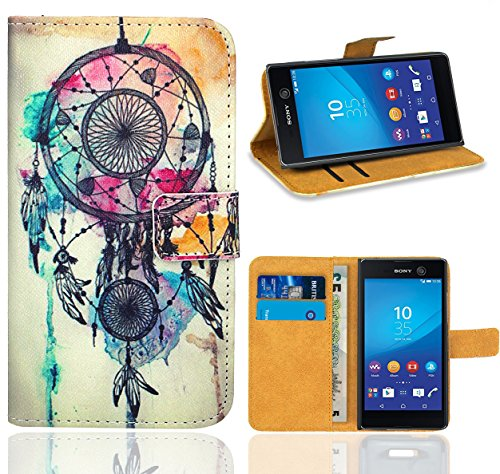 FoneExpert® Sony Xperia M5 Handy Tasche, Wallet Hülle Flip Cover Hüllen Etui Ledertasche Lederhülle Premium Schutzhülle für Sony Xperia M5