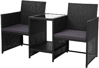 Gardeon Outdoor Setting Wicker Rattan Furniture Garden Patio Table and Chairs-Black