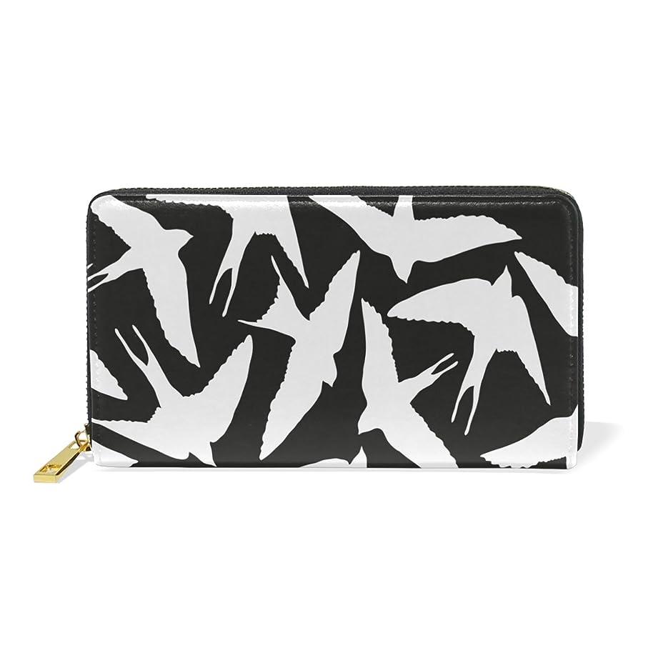 超えて無限高速道路マキク(MAKIKU) 長財布 レディース 本革 大容量 ラウンドファスナー カード12枚収納 プレゼント対応 かわいい 燕 ツバメ柄 白黒
