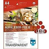 SKULLPAPER® Folios adhesivos transparentes para pegar y diseñar uno mismo, para impresoras láser (A4, 10 hojas)