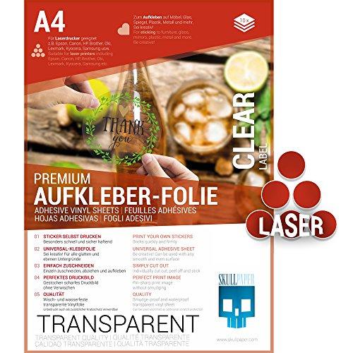 SKULLPAPER® Klebefolie transparent zum Aufkleben und selbst Gestalten - für Laserdrucker (A4-10 Blatt)