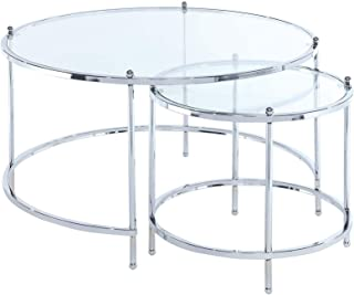 Convenience Concepts Royal Crest Nesting Round Coffee Table, Clear Glass/Chrome Frame