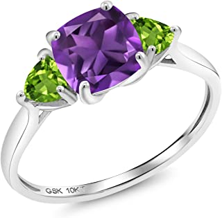 1.92 Ct Cushion Purple Amethyst Green Peridot 10K White Gold 3 Stone Meghan Engagement Ring
