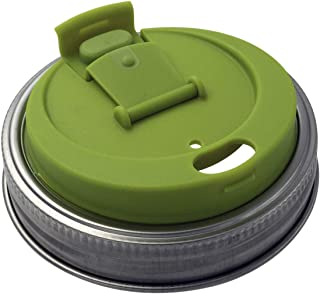 Jarware Leak Resistant Drinking Lid with Rust Proof Band for Mason Jars (Wide Mouth)