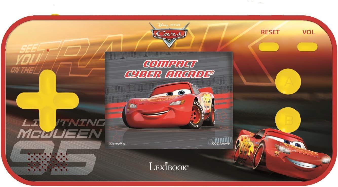 LEXIBOOK- Disney Cars Compact Cyber Arcade Consola portátil, 150 Juegos, LCD, Funciona con Pilas, Rojo