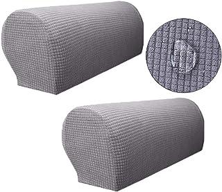Zuodu Par de fundas protectoras para el reposabrazos del sofá, hechas de licra, no resbala