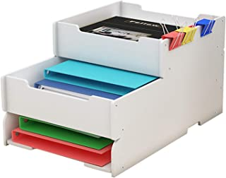 File Rack, 3-layer Desktop Storage Box Office Bookend Storage Information Rack Book Rack Shelf Pen Holder XJJUN (Color : W...