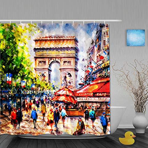 JIOLK Cortina de baño Repelente al Agua,Arco del Triunfo París Francia Fondo Pintado,Cortinas de baño de poliéster de diseño 3D con 12 Ganchos