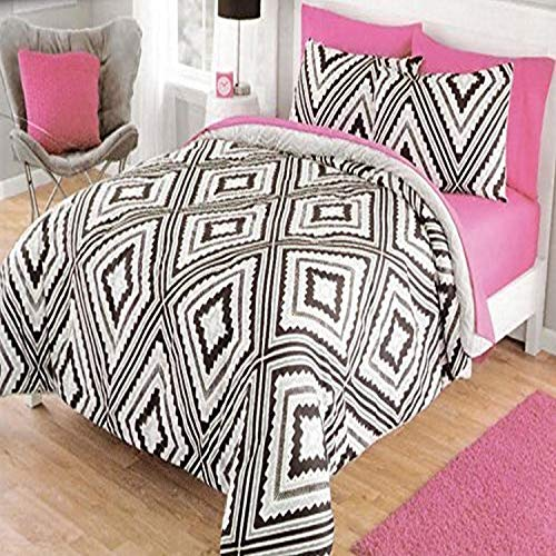 Dovedote Geo Aztec Reverse to Cozy Plush Comforter Set Bed in a Bag, Twin, Black/Gray, Grey